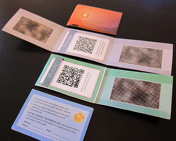 Overview image of 4 paper wallet